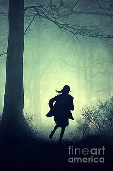 Female Running In A Creepy Forest At Night by Lee Avison