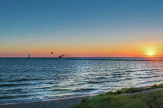 Ferry Going Into Sunset by Lester Plank