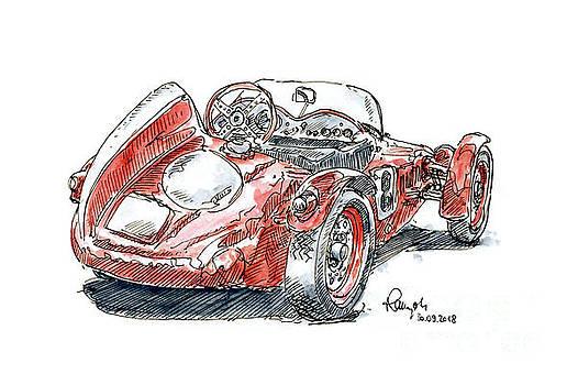 Frank Ramspott - Fiat-Giannini Formel Junior Classic Racecar Ink Drawing and Wate
