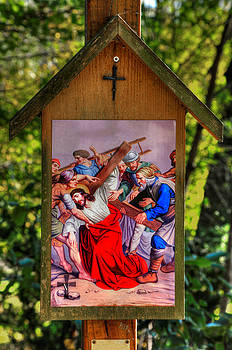 Fifth Station of the Cross - Simon of Cyrene Helps Jesus to Carry His Cross - Luke 23, Verse 26 by Michael Mazaika