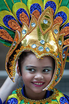 Filipino Day Parade NYC 2019 Young Female Dancer in Head Dress by Robert Ullmann