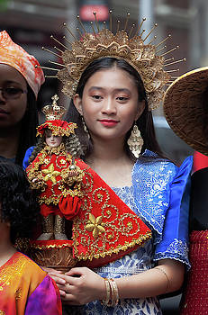 Filipino Day Parade NYC 2019 Young Girl Holding Religious Statue by Robert Ullmann