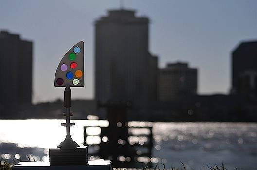 Fine Art America Tony Award Silhouette Aglow Atop The Levee And The Mighty Mississippi River  Below by Michael Hoard