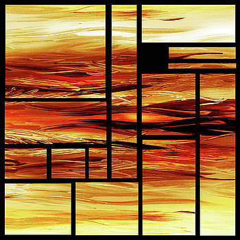 Fire Bright Vivid Geometry Blocks Abstract  by Irina Sztukowski
