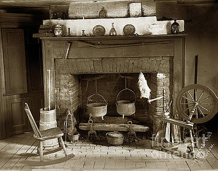California Views Archives Mr Pat Hathaway Archives -  Fireplace   made of bricks with cooking cauldron with a rifel 1903