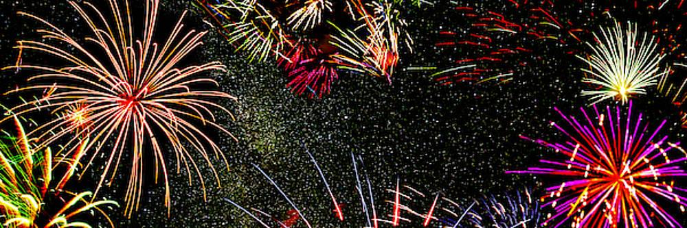 Fireworks Panorama by Lonnie Paulson
