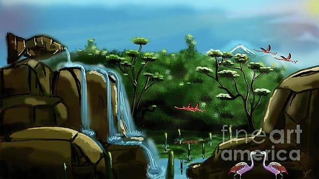 Fish lake and Flamingo Paradise by Artist Nandika Dutt