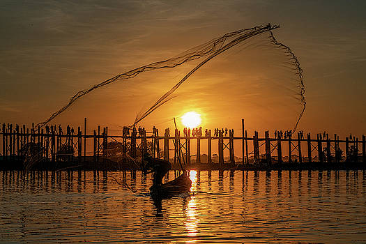 Fisherman On Taungthaman Lake by Chris Lord