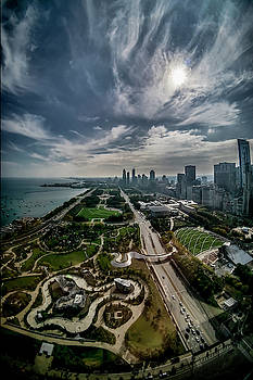 fisheye view of Chicago from the 30th floor by Sven Brogren