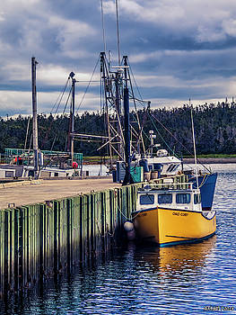 Fishing Boats at Wharf in Marie Joseph by Ken Morris