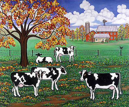 Linda Mears - Five Black and White Cows