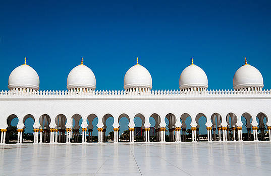 Five Domes Of Sheikh Zayed Mosque In by In Green