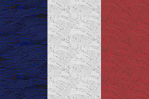 Flag of France Liberty, Equality, Fraternity, by Cecely Bloom