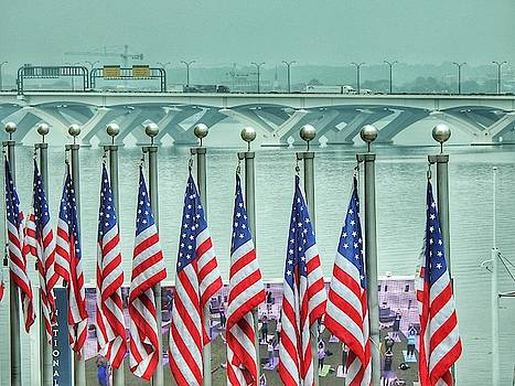 Flags Across The Woodrow Wilson Bridge by Kathy Gail