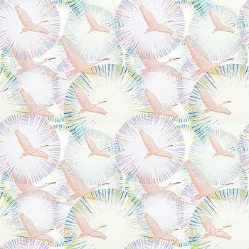 Flamingos in Flight Seamless Pattern by Priscilla Wolfe