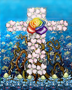 Floral Cross Rainbow Rose by Kevin Middleton