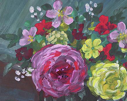 Irina Sztukowski - Floral Impressionism Pink And Yellow Roses
