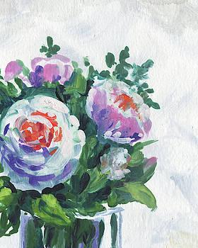 Floral Impressionism White Pink Flowers by Irina Sztukowski