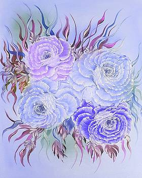 Floral pretty roses special blue  by Angela Whitehouse