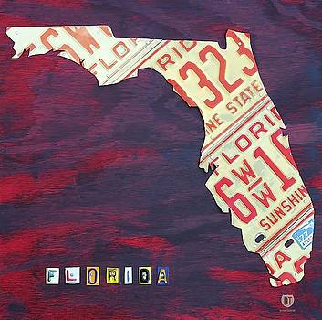 Florida License Plate Wall Art by David Bowman