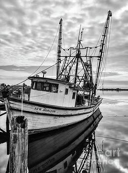 Mel Steinhauer - Florida Panhandle Fishing Boat Black and White