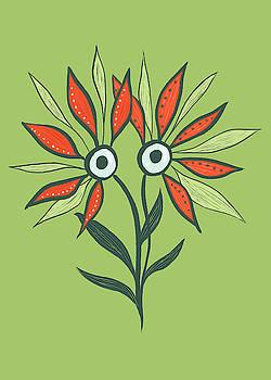 Flower Monster In Orange And Green by Boriana Giormova