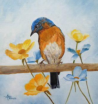 Flower Peeping Eastern Bluebird by Angeles M Pomata