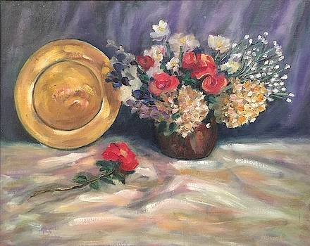 Flowers and Plate Still Life by Richard Nowak