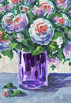 Flowers Bouquet In Purple Glass by Irina Sztukowski