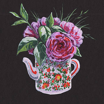 Flowers Bouquet In Teapot Floral Impressionism  by Irina Sztukowski