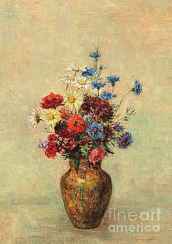 Odilon Redon - Flowers in a Vase circa 1910 by Odilon Redon