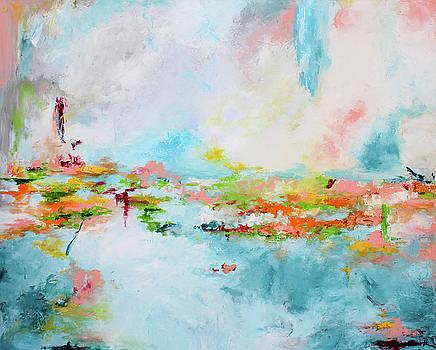 Flowers on lake by Katrina Nixon