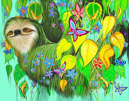 Flowery Rain Forest Sloth by Nick Gustafson