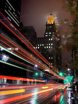 Foggy Night, City Lights by Bill Barfield