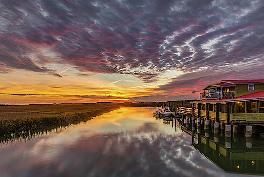 Folly Beach Little Oak Creek Sunset by Donnie Whitaker