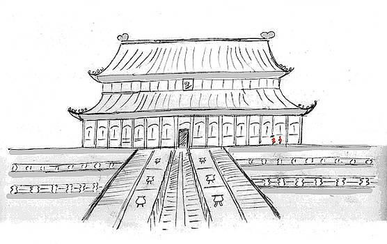 Forbidden City sketch, Beijing, China by Steve Clarke