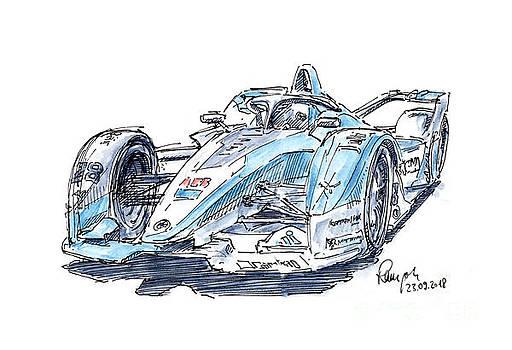 Frank Ramspott - Formula E BMW i.FE18 Racecar Ink Drawing and Watercolor