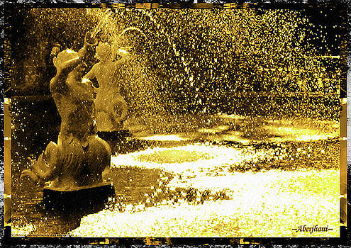 Forsyth Park Tritons in a Cascade of Gold by Aberjhani