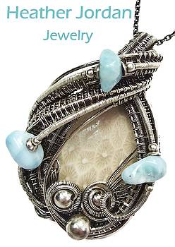 Fossilized Coral Wire-Wrapped Pendant in Antiqued Sterling Silver with Larimar by Heather Jordan