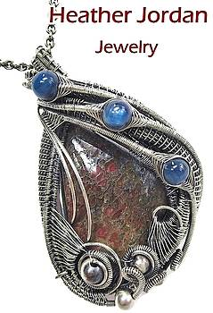 Fossilized Dinosaur Bone Wire-Wrapped Pendant in Antiqued Sterling Silver with Blue Kyanite by Heather Jordan