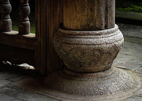 Foundation Stone Under Wooden Pole used in Chinese Architecture by William Dickman