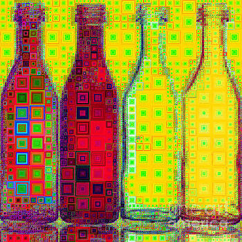 Four Bottles In Abstract Squares 20190129a by Wingsdomain Art and Photography