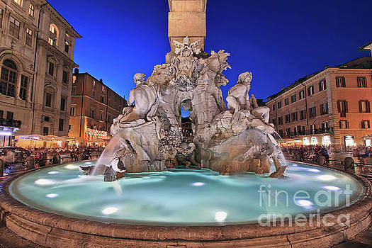 Four Rivers Fountain in Piazza Navona, Rome, Italy by Sam Antonio Photography