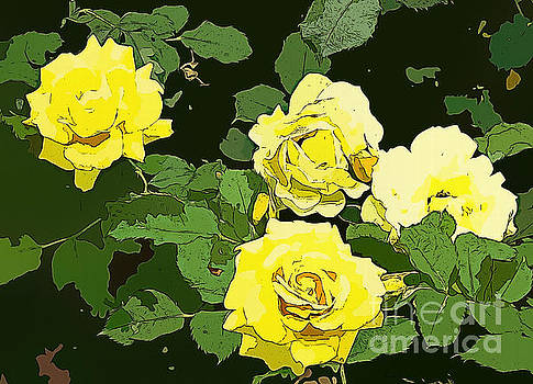 Four Yellow Roses. by Trudee Hunter