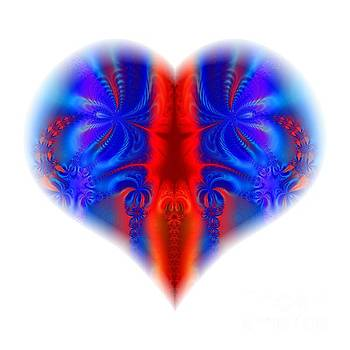 Rose Santuci-Sofranko - Fractal Abstract Heart Broken and Blue A Dagger Through The Heart