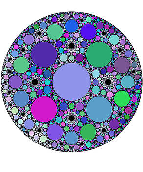 Fractal Circles in Purple Pink Blue Green Mandelbrot by Swigalicious Art