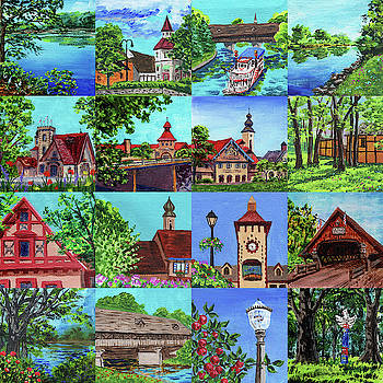 Frankenmuth Downtown Michigan Painting Collage I by Irina Sztukowski