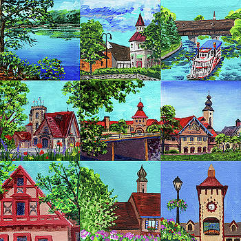 Frankenmuth Downtown Michigan Painting Collage II by Irina Sztukowski