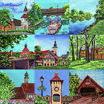 Frankenmuth Downtown Michigan Painting Collage III by Irina Sztukowski