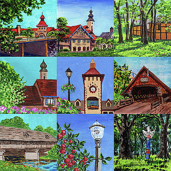 Frankenmuth Downtown Michigan Painting Collage IV by Irina Sztukowski
